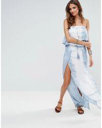af6ed5f353 Surf Gypsy Off The Shoulder Tie Dye Beach Maxi Dress in Blue - Lyst