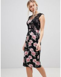 Girls On Film Black Floral Midi Dress With Lace Detail