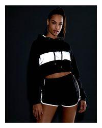 Sudadera con capucha y panel reflectante ASOS de color Black