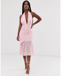 Vestido midi halter de encaje en dos tonos ASOS de color Pink