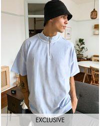 Reclaimed (vintage) Blue Inspired Oversized Velour Short Sleeve Top for men
