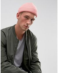 Asos Mini Fisherman Beanie In Pink in Pink for Men - Lyst dc00aa2c001