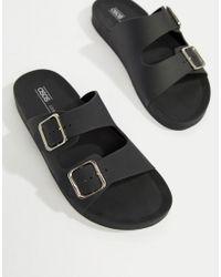 ASOS - Black Flax Jelly Flat Sandals - Lyst