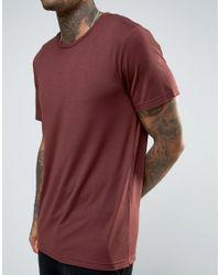Mennace Red T-shirt With Raw Hem In Burgundy for men
