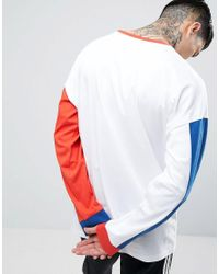 ASOS White Oversized Long Sleeve T-shirt With Mismatch Sleeve And Panelling In Heavyweight for men
