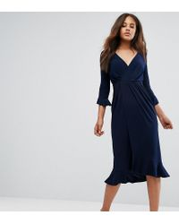 ASOS Blue Wrap Front Midi Dress With Frill Detail