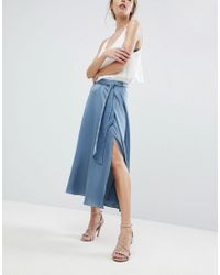 ASOS - Blue Asos Satin Midi Skirt With Self Belt - Lyst