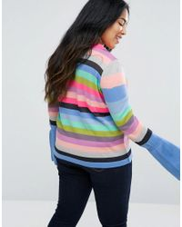 ASOS Multicolor Curve Sweater With Multi Stripe And Fluted Sleeves