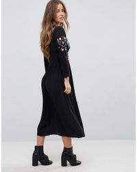 ASOS Black Embroidered Maxi Dress