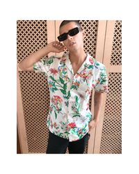 Tommy Hilfiger Natural Allover Floral Print Camp Short Sleeve Shirt for men