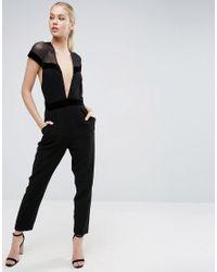 ASOS - Black Jumpsuit With Velvet Tux Plunge Detail - Lyst