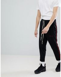 Mennace Black Skinny Sweatpants With Side Velvet Stripe for men