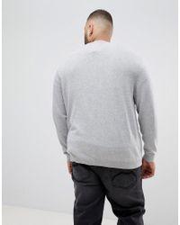 Jersey de punto con cuello redondo en gris Essentials Jack & Jones de hombre de color Gray
