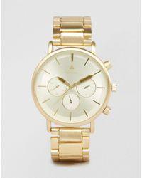 ASOS Metallic Bracelet Watch In Brushed Gold for men