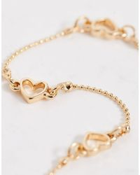 ASOS Metallic Anklet With Open Heart Station