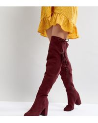 New Look Red Tassel Over The Knee Boot