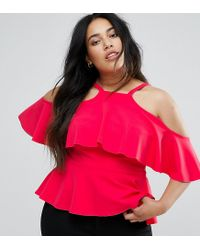 Club L - Pink Plus Ruffle Detail Peplum Top - Lyst