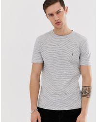 Camiseta con diseño a rayas finas en blanco y negro AllSaints de hombre de color Black
