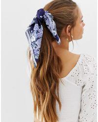 Pañuelo para la cabeza/cuello con estampado de dragón ASOS de color Blue