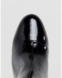 New Look Black Patent Block Heel Ankle Boot