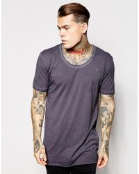 Antioch - Black Longline T-shirt In Oil Wash With Scoop Neck for Men - Lyst