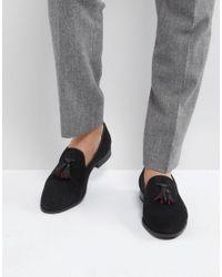 House Of Hounds Black Suede Tassel Slipper Loafers for men