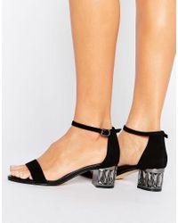 Dune Black Marcee Suede Mid Jewel Heel Sandal