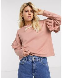 Розовый Топ С Оборками На Рукавах Pull&Bear, цвет: Pink