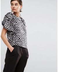 ASOS Black Jacquard Top With Ruched Sleeves