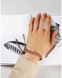 Jack & Jones - Jacwood Leather & Woven Bracelet In Brown for Men - Lyst