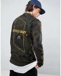 ASOS Green Jersey Bomber Jacket With Embroidery In Camo Print for men