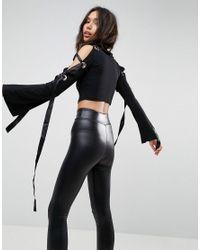 ASOS - Black Top In Crepe With Caging Eyelet Wide Sleeve Detail - Lyst