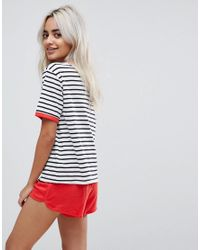 ASOS Whatever Embroidered Stripe Tee & Short Pyjama Set