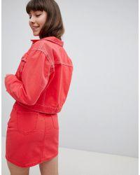 New Look Red Crop Denim Jacket