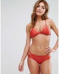 RVCA - Red Ladder Back Bikini Top - Lyst