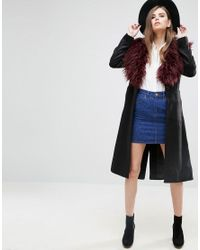 French Connection Black Wonderland Faux Fur Collar Wool Duster