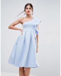 ASOS - White Ruffle One Shoulder Scuba Midi Dress - Lyst