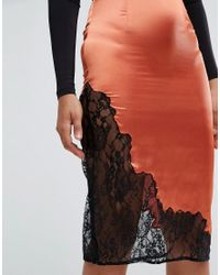 ASOS | Orange Boudoir Slip Skirt With Lace Insert Hem | Lyst