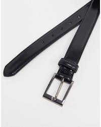 Черный Лакированный Ремень Topman для него, цвет: Black