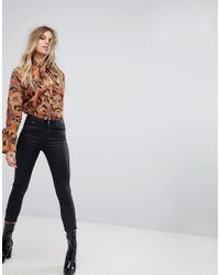 Boohoo Brown Pussybow Flared Sleeve Blouse