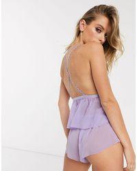 Комплект Из Топа И Шорт С Фигурной Отделкой ASOS, цвет: Purple