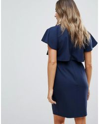 ASOS - Blue Double Layer Mini Wiggle Dress With Angel Sleeve - Lyst
