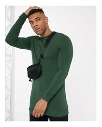 Sudadera larga verde oscura ajustada ASOS de hombre de color Green