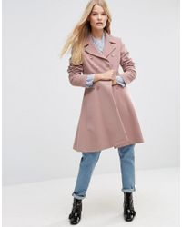 ASOS Pink Double Breasted Skater Coat