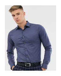 Tiger Of Sweden Purple Filbrodie Cotton Blend Extra Slim Fit Shirt for men