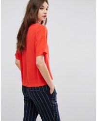 Gestuz Red Cassie Short Sleeve Silk Top
