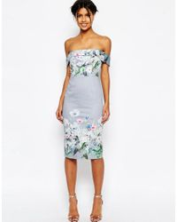 ASOS - Blue Gray Border Floral Midi Pencil Dress - Lyst