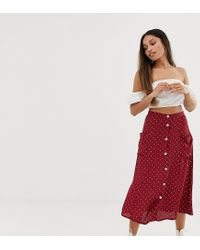 Miss Selfridge Red Midi Skirt With Button Down