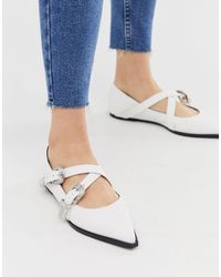 ASOS White Lexicon Pointed Western Flats With Buckle
