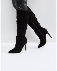 ASOS Black Asos Cora Slouch Pointed Knee Boots